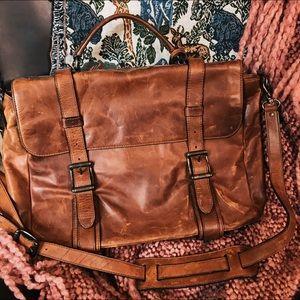 Frye Logan Flap Briefcase, cognac genuine leather